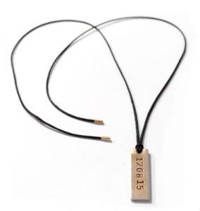 sierkracht-knoopketting-herenketting-draadketting-met plaatje-met naam-met datum-met tekst-gepersonaliseerd-goud-messing